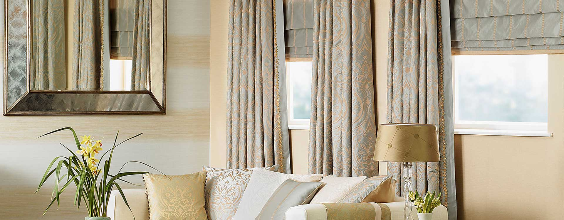 Custom Silk Curtains, Drapes and Roman Shades.