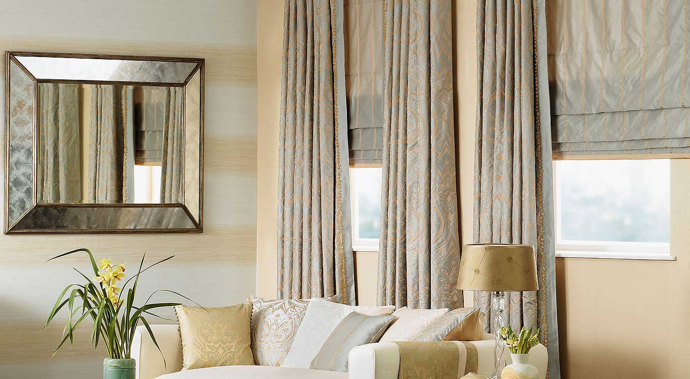 Custom Drapes, Curtains and Roman Shades.